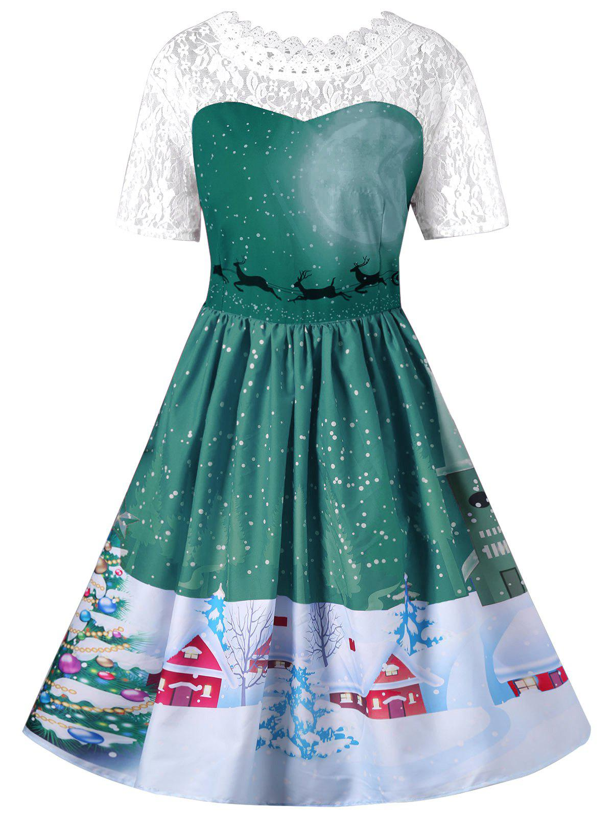 Vintage Christmas Graphic Lace Yoke Swing DressWOMEN<br><br>Size: XL; Color: GREEN; Style: Vintage; Material: Polyester,Spandex; Silhouette: A-Line; Dresses Length: Knee-Length; Neckline: Round Collar; Sleeve Length: Short Sleeves; Embellishment: Lace; Pattern Type: Animal; With Belt: No; Season: Fall,Spring; Weight: 0.3100kg; Package Contents: 1 x Dress;