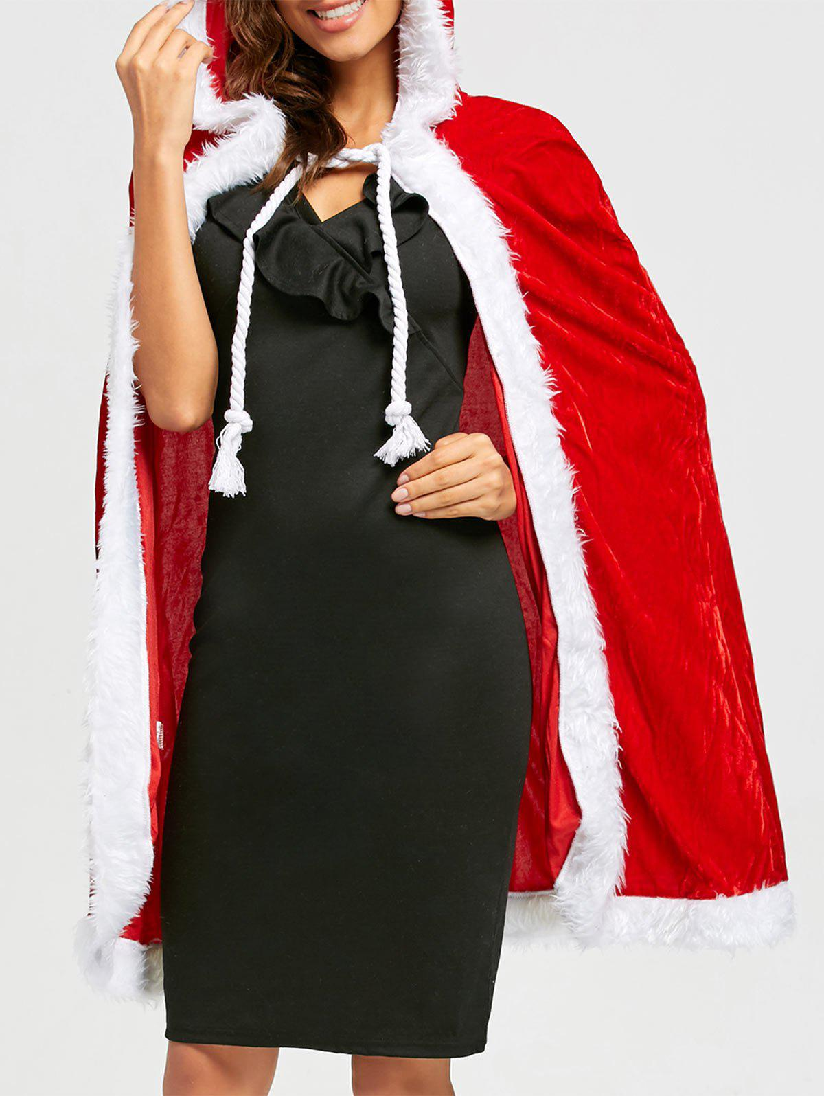 Velvet Christmas Queen CostumeWOMEN<br><br>Size: ONE SIZE; Color: RED; Age Group: Adult; Gender: Women; Characters: Holiday; Sleeve Length: Sleeveless; Fabric Type: Velour; Material: Polyester; Weight: 0.3800kg; Package Contents: 1 x Cloak;