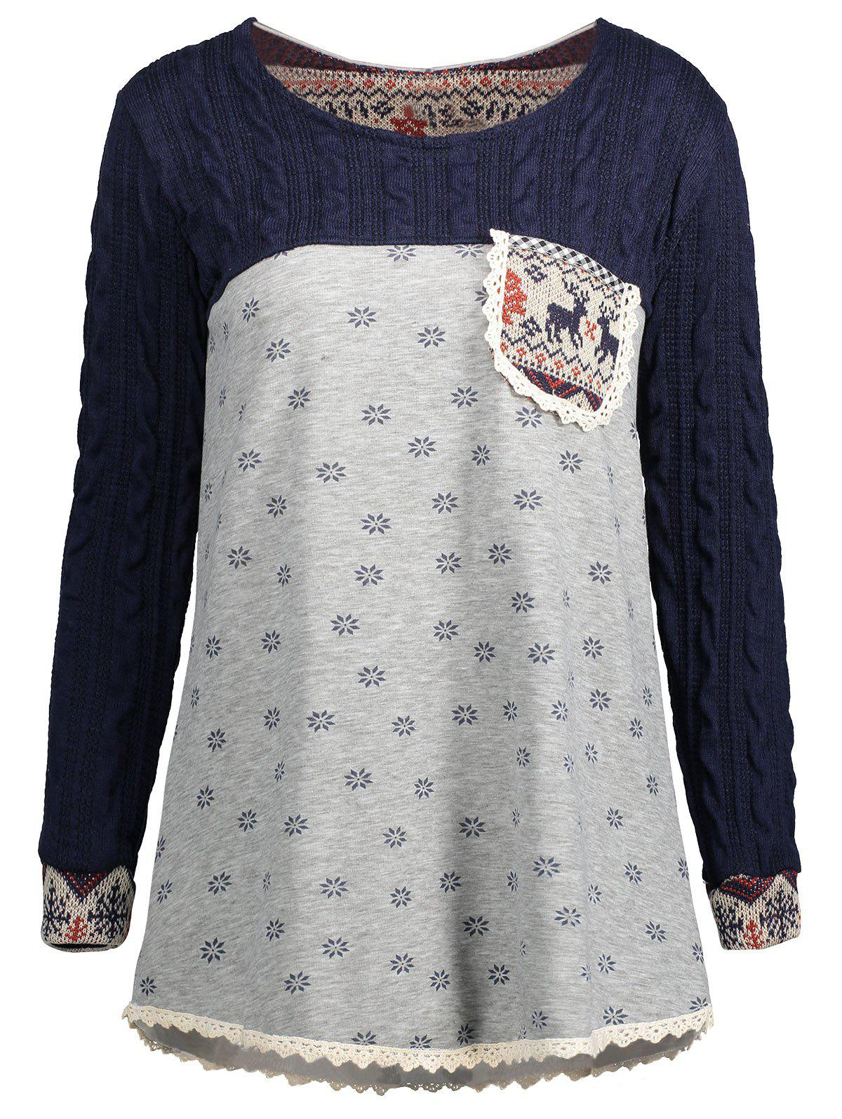 Lace Insert Snowflake Print Christmas Tunic SweaterWOMEN<br><br>Size: M; Color: LIGHT GRAY; Type: Pullovers; Material: Polyester,Spandex; Sleeve Length: Full; Collar: Round Neck; Style: Fashion; Pattern Type: Geometric; Season: Fall,Spring; Weight: 0.4500kg; Package Contents: 1 x Sweater;