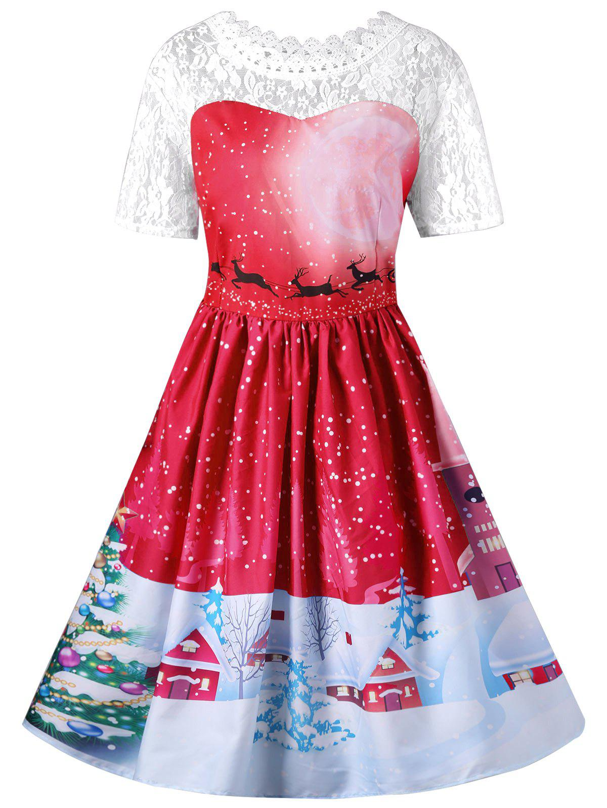 Vintage Christmas Graphic Lace Yoke Swing DressWOMEN<br><br>Size: L; Color: RED; Style: Vintage; Material: Polyester,Spandex; Silhouette: A-Line; Dresses Length: Knee-Length; Neckline: Round Collar; Sleeve Length: Short Sleeves; Embellishment: Lace; Pattern Type: Animal; With Belt: No; Season: Fall,Spring; Weight: 0.3100kg; Package Contents: 1 x Dress;