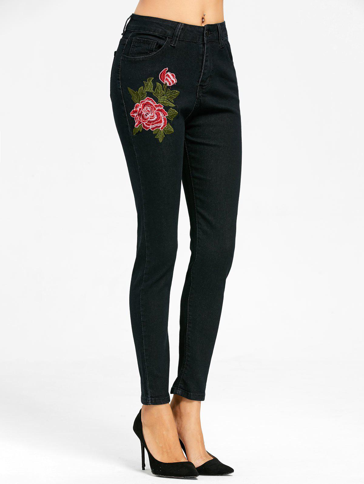 New Floral Embroidered Skinny Zipper Fly Jeans