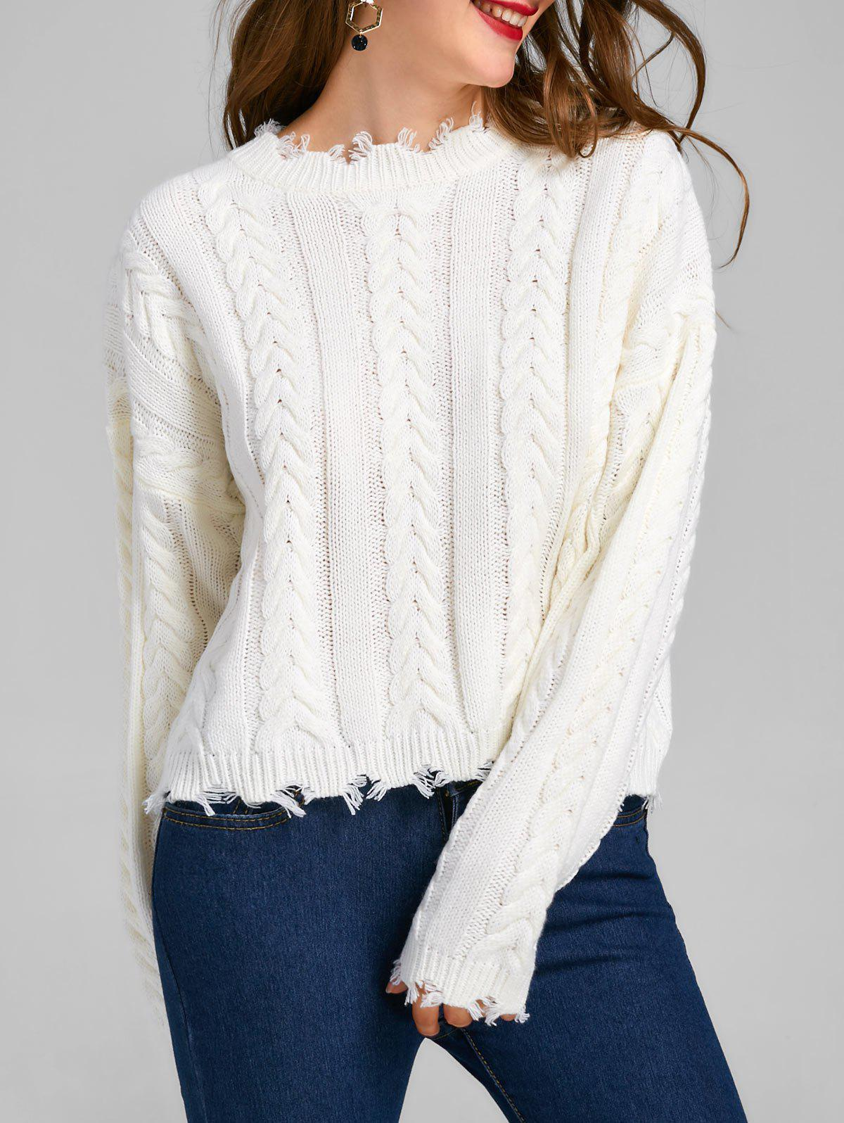 Chic Cable Knit Drop Shoulder Frayed Sweater