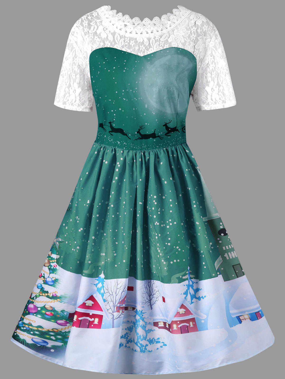 Christmas Plus Size Lace Yoke Vintage Swing DressWOMEN<br><br>Size: XL; Color: GREEN; Style: Vintage; Material: Polyester,Spandex; Silhouette: A-Line; Dresses Length: Knee-Length; Neckline: Round Collar; Sleeve Length: Short Sleeves; Embellishment: Lace; Pattern Type: Animal,Floral; With Belt: No; Season: Fall,Spring,Summer; Weight: 0.3200kg; Package Contents: 1 x Dress;