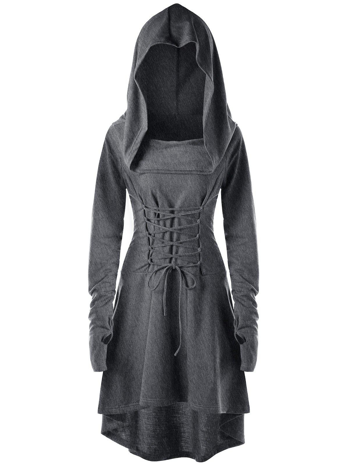 Hooded Lace Up High Low DressWOMEN<br><br>Size: L; Color: DARK HEATHER GRAY; Style: Novelty; Material: Polyester,Spandex; Silhouette: Asymmetrical; Dresses Length: Mid-Calf; Neckline: Hooded; Sleeve Length: Long Sleeves; Embellishment: Criss-Cross; Pattern Type: Solid; With Belt: No; Season: Fall,Spring; Weight: 0.5500kg; Package Contents: 1 x Dress;