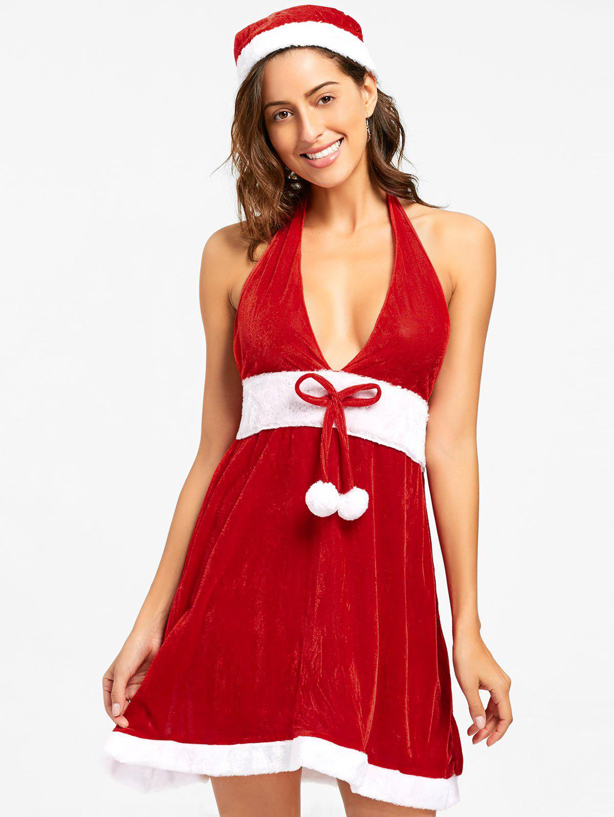 Halter Velvet Christmas DressWOMEN<br><br>Size: 2XL; Color: RED; Material: Polyester; Fabric Type: Velvet; Pattern Type: Others; Embellishment: Bowknot; Weight: 0.2700kg; Package Contents: 1 x Dress   1 x Hat;