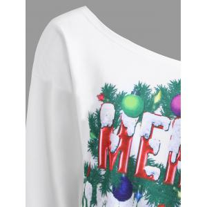 Sweat-Shirt à Imprimé Boules Sapin de Noël et Inscription Merry Christmas Grande-Taille -