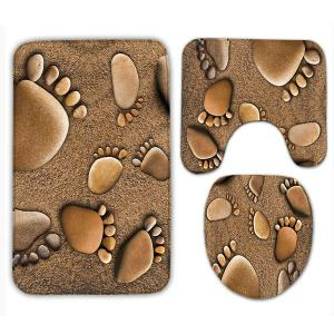 3Pcs Flanel Beach Footprints Bath Tapis de toilette Set - Brun