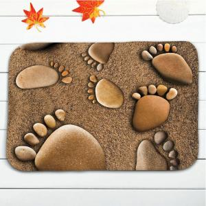 3Pcs Flanel Beach Footprints Bath Tapis de toilette Set -