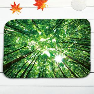 Forest Sky Print Flannel Set de tapis de toilette 3Pcs -