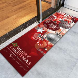 Christmas Ornaments Ball Print Nonslip Flannel Bath Rug -