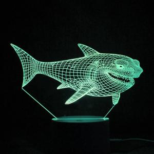 Colorful 3D Visual LED Shark Touch Night Light With Remote Control -