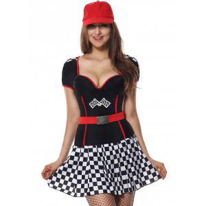 Sporty Sweetheart Neck Plaid Costume Dress - BLACK S