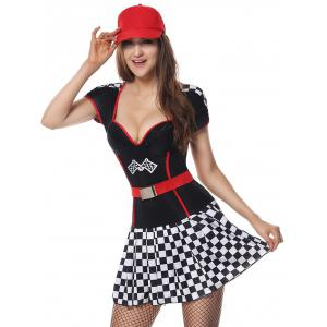 Sporty Sweetheart Neck Plaid Costume Dress - BLACK M