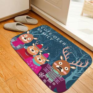 Noël Cute Deer Family Flannel Nonslip Thick Bath Mat - Bleu Largeur 16 pouces*Longueur 24 pouces