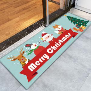 Christmas Elk Snowman Santa Claus Fox Tree Nonslip Bath Mat - CLOUDY W16 INCH * L47 INCH