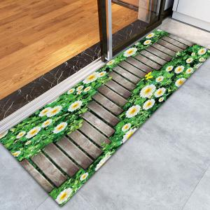 Flower Wood Path Printed Flannel Nonslip Bath Rug - WOOD COLOR W16 INCH * L47 INCH