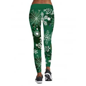 Elastic Waist Christmas Snowflake Printed Leggings - GREEN L