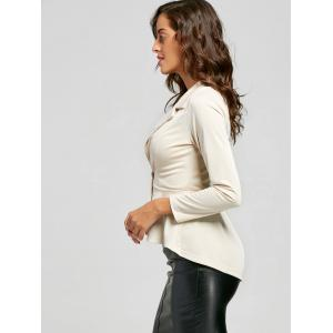 One Button Flounce High Low Blazer - APRICOT S
