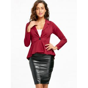 One Button Flounce High Low Blazer - WINE RED L