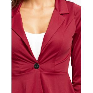 One Button Flounce High Low Blazer - WINE RED S