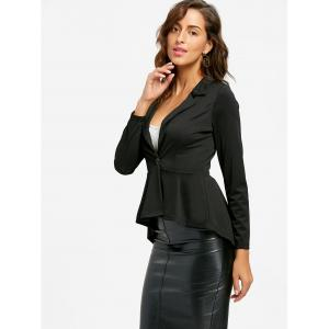 One Button Flounce High Low Blazer - Noir XL
