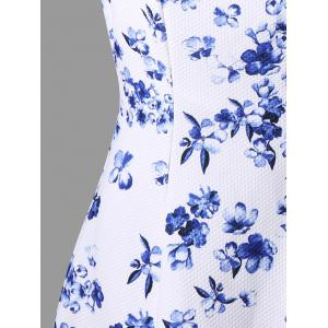 Sleeveless Floral Print Skater Dress - WHITE M