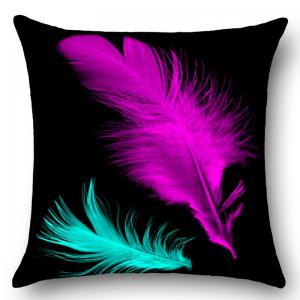 Feathers Printed Square Throw Pillow Case - BLACK W18 INCH * L18 INCH