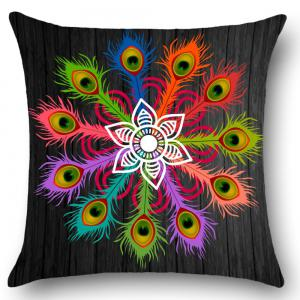 Peacock Feathers Pattern Throw Pillow Case -
