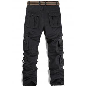 Straight Leg Pleat Pockets Cargo Pants -