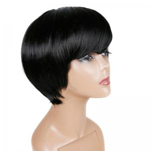 Short Inclined Fringe Straight Human Hair Wig -