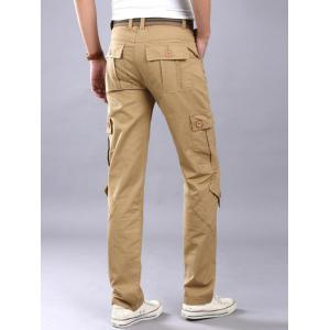 Zipper Fly Pockets Straight Leg Cargo Pants - Kaki 36
