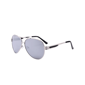 Outdoor Metal Frame Crossbar Pilot Sunglasses - REFLECTIVE WHITE COLOR