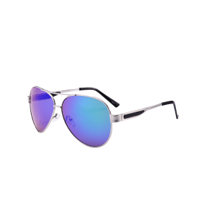 Outdoor Metal Frame Crossbar Pilot Sunglasses - BLUE GREEN