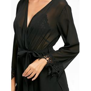 Long Sleeve Back Slit Sheer Surplice Romper - BLACK L