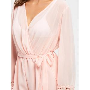 Long Sleeve Back Slit Sheer Surplice Romper -