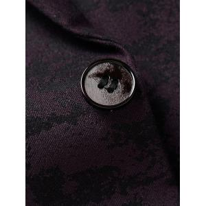 Lapel One Button Jacquard Edging Blazer - Bordeaux XL