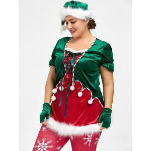 Christmas Plus Size Top and Santa Claus hat -