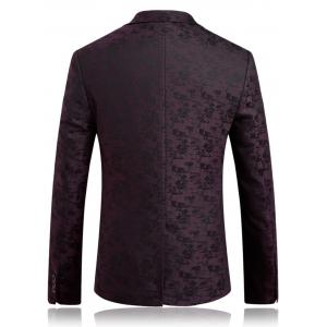 Lapel One Button Jacquard Edging Blazer - PURPLISH RED 2XL