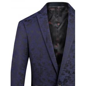Lapel One Button Jacquard Edging Blazer - DEEP BLUE XL