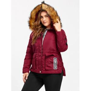 Hooded Letter Print Padded Plus Size Coat - WINE RED 4XL
