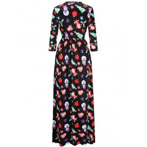 Santa Claus Christmas Gift Print Maxi Dress - COLORMIX S