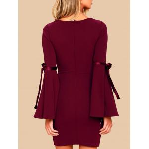 Short Bell Sleeve Fitted Dress - WINE RED S