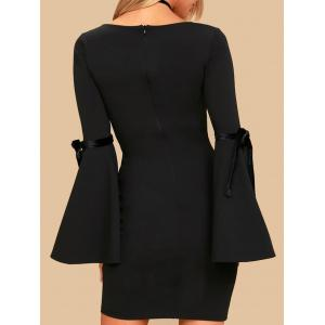 Short Bell Sleeve Fitted Dress - BLACK XL