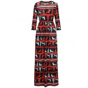 Christmas Graphic Print Maxi Dress - COLORMIX S