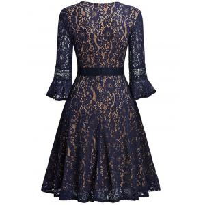 Lace Vintage A Line Dress - Bleu Indigo Perle 2XL
