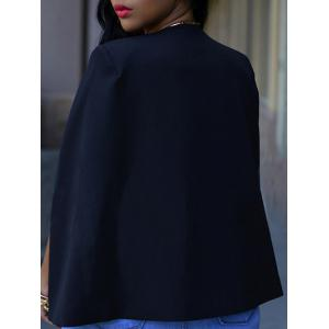 Collarless Split Cape Blazer - BLACK XL