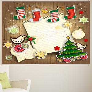 Multicolor Christmas Stocking Print Wall Art Sticker - Coloré