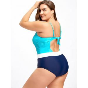 Plus Size Backless Keyhole One Piece Swimwear -