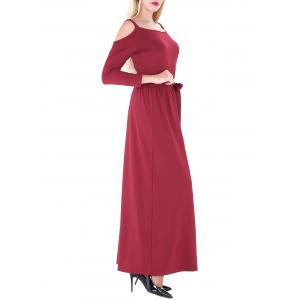 Cold Shoulder Maxi Prom Dress - WINE RED XL