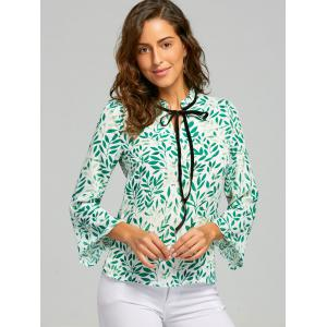 Mock Neck Self Tie Leaf Print Blouse -